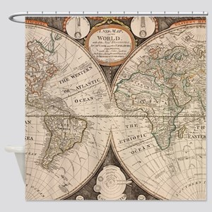 Vintage Map of The World (1799) 5 Shower Curtain